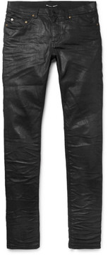 Saint Laurent Slim-Fit 15cm Hem Coated Stretch-Denim Jeans