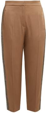 Brunello Cucinelli Side-stripe tapered-leg satin cropped trousers