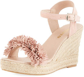Sesto Meucci Olexa Suede Fringe Wedge Sandals, Medium Pink