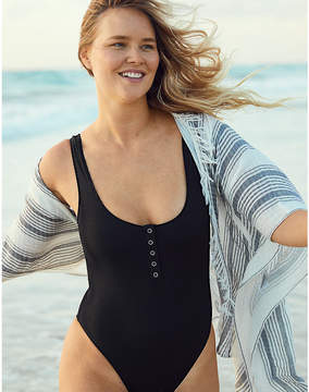 aerie Ribbed Henley One Piece Swimsuit