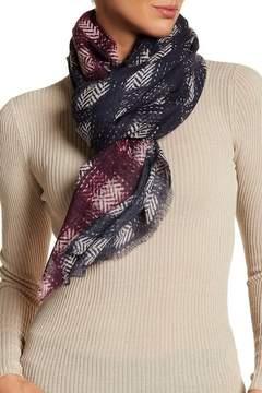 Frye Herringbone Print Virgin Wool Scarf