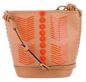 Tory Burch Whipstitched Leather Bucket Bag - NEUTRALS - STYLE