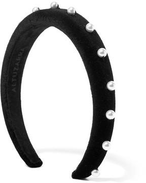 Altuzarra - Faux Pearl-embellished Velvet Headband - Black