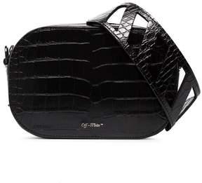 Off-White black crocodile embossed leather camera bag