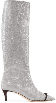 Marco De Vincenzo Bow-embellished Swarovski Crystal And Leather Knee Boots - Silver