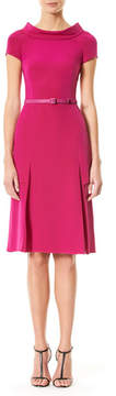 Carolina Herrera Cap-Sleeve Boat-Neck Dress, Magenta