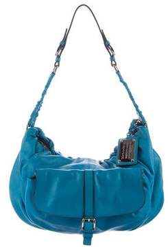 Dolce & Gabbana Ruched-Accented Leather Hobo - BLUE - STYLE