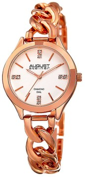 August Steiner Silver Dial Ladies Rose Gold Tone Watch