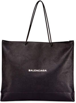 Balenciaga Men's Large East-West Tote Bag, Black/White