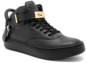 Buscemi 100MM Leather Mid Alce Sneakers in Black.