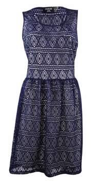 GUESS Women's Crochet Sweetheat A-Line Dress (12, Navy/White)