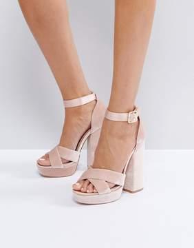 Faith Blush Velvet And Satin Platform Sandals