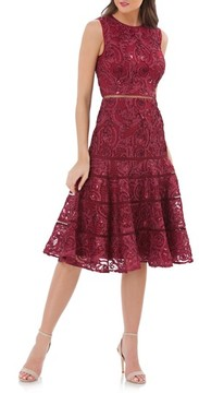 Carmen Marc Valvo Women's Soutache Fit & Flare Dress