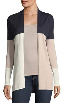 Neiman Marcus Cashmere Colorblock Open-Front Cardigan