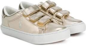 Ralph Lauren metallic strap sneakers