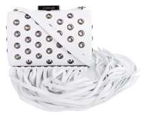 Roberto Cavalli White Leather Eyelet Fringe Shoulder Bag