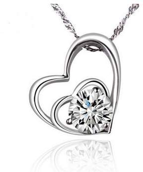 Alpha A A Designer Inspired Heart Necklace With Centered CZ