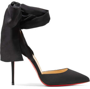 Christian Louboutin Douce Du Desert 100 Crepe De Chine Pumps - Black