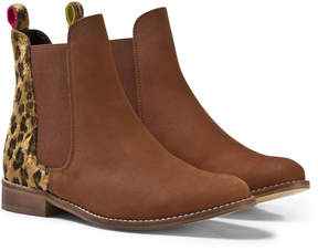 Joules Tan and Leopard Suede Chelsea Boots