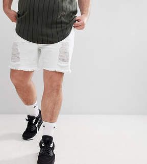 SikSilk PLUS Super Skinny Denim Shorts In White With Distressing Exclusive to ASOS