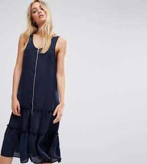 Noisy May Tall Ruffle Hem Dress With Zip Detail