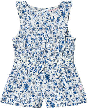 Joules Blue Ditsy Floral Jersey Frill Playsuit