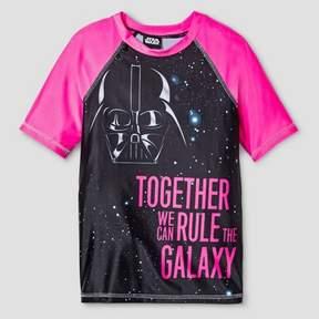 Star Wars Girls' Darth Vader Rash Guard - Black