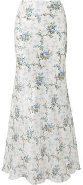 Brock Collection Sophie Floral-print Silk-taffeta Maxi Skirt - Blue