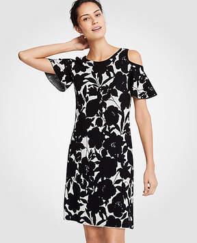 Ann Taylor Floral Cold Shoulder Sweater Dress