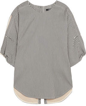 Bassike Striped Cotton And Silk-blend Blouse - Black