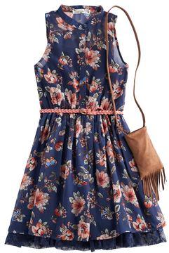Knitworks Girls 7-16 Floral Chiffon Shirtdress with Crossbody Fringe Purse