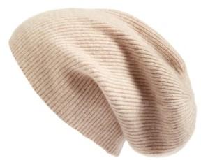 Halogen Women's Slouchy Cashmere Beanie - Beige