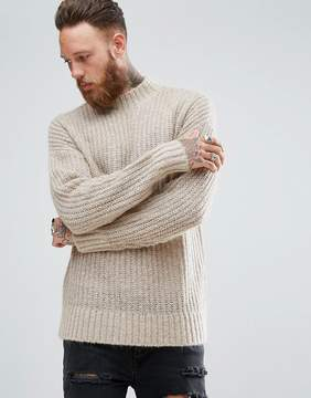 Asos Mohair Wool Blend Turtleneck Sweater In Brown