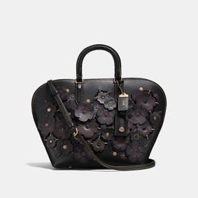 COACH Coach Dakotah Satchel In Glovetanned Leather With Linked Tea Rose - BRASS/BLACK - STYLE