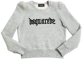 DSQUARED2 Flocked Printed Cotton Sweatshirt