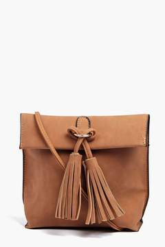 boohoo Eva Suedette Tassel Detail Cross Body Bag