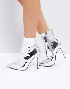 Public Desire Harlee High Shine Silver Heeled Ankle Boots