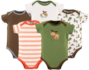 Luvable Friends Green & Brown Moose Bodysuit Set - Infant