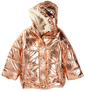 DKNY Bomber with Faux Fur Hood (Toddler & Little Girls)