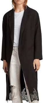 AllSaints Sandra Lace-Hem Wrap Coat