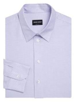 Giorgio Armani Berry Mini Grid Modern Fit Dress Shirt