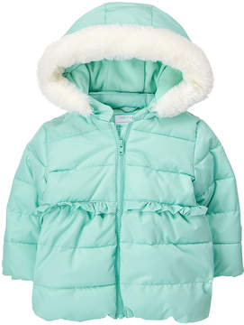 Gymboree Aqua Faux Fur-Trim Fleece-Lined Hooded Jacket - Infant & Toddler