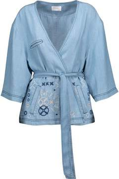 Camilla Embroidered Chambray Wrap Jacket