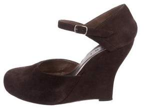 Marni Suede Round-Toe Wedges
