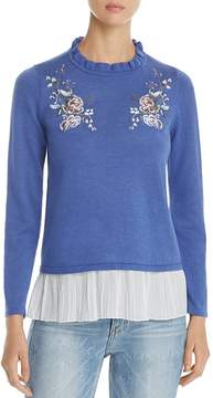 Design History Floral Embroidered Ruffle Sweater