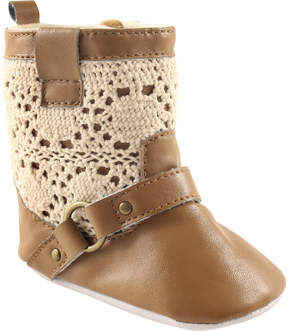 Luvable Friends Tan Crochet-Lace Booties - Girls