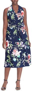 Chaps Plus Size Knot-Front Halter Fit & Flare Dress