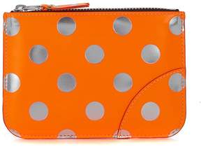 Comme des Garcons Silver And Orange Laminated Leather Purse
