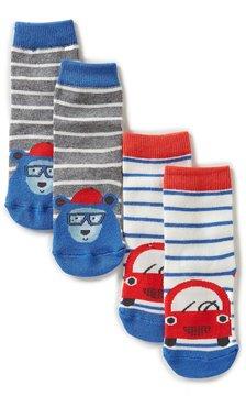 Joules Baby Boys Newborn-3T Car/Bear 2-Pack Socks