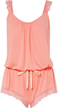 Eberjey Delfina The Enchanted Lace-trimmed Stretch-modal Playsuit - Peach